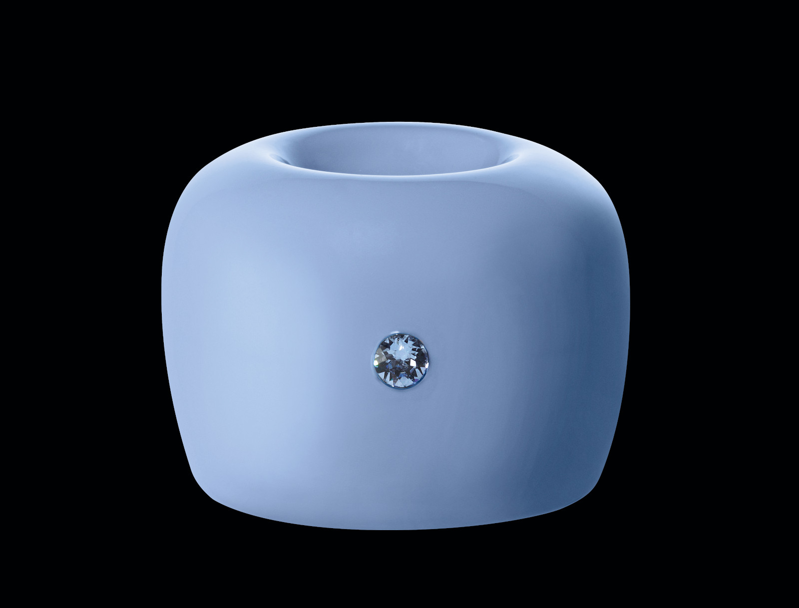 negru swiss smile Halter blau front Strălucire de diamant cu o trilogie de bijuterii